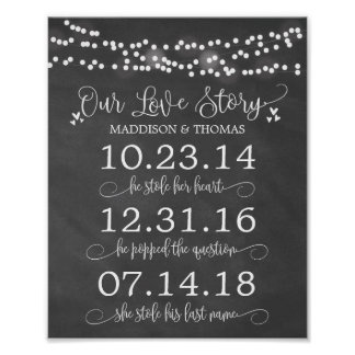Chalk Lights Our Love Story Timeline Wedding Decor