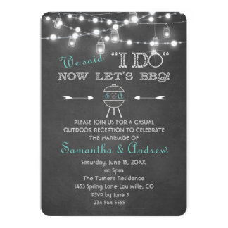 Chalk Mason Jars String Lights I DO BBQ Card
