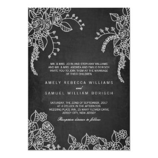 Chalk Modern Henna Floral Wedding Invitation