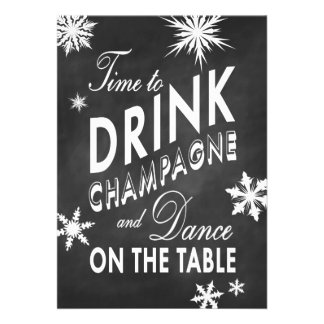 Chalk New Year s Time to Drink Champagne Invite