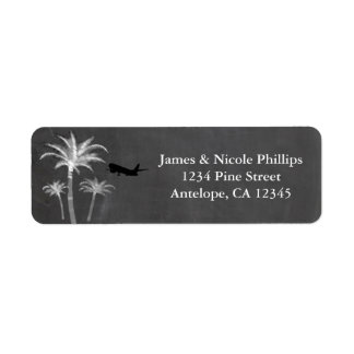 Chalk Palm Trees Destination Travel Wedding Labels