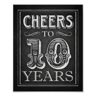 Chalk Style CHEERS TO 10 YEARS Sign Print