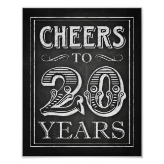 Chalk Style CHEERS TO 20 YEARS Sign Print