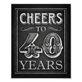 Chalk Style CHEERS TO 40 YEARS Sign Print