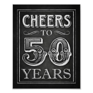 Chalk Style CHEERS TO 50 YEARS Sign Print