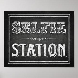 Chalk Style SELFIE STATION Sign Print