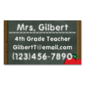 Chalk Teachers Information Magnetic Business Cards