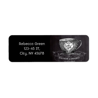 Chalkboard Alice in Wonderland tea party teacup Return Address Label