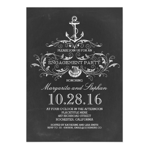 chalkboard anchor nautical engagement party announcement