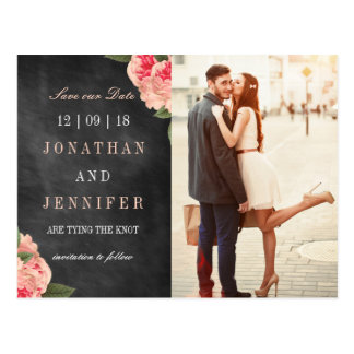 Chalkboard and Coral Floral Save the Date Postcard