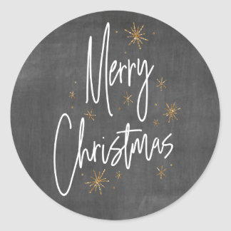 Chalkboard and Faux Gold Glitter Merry Christmas Classic Round Sticker