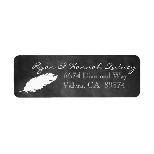 Chalkboard and Feather Return Address Label