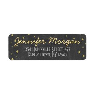 Chalkboard and Gold Confetti Return Address Label