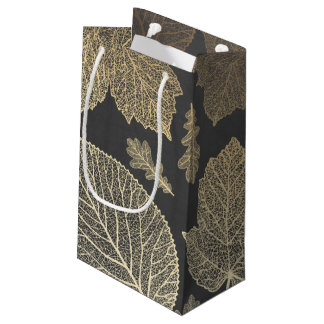 Chalkboard and Gold Leaves Fall Wedding Small Gift Bag