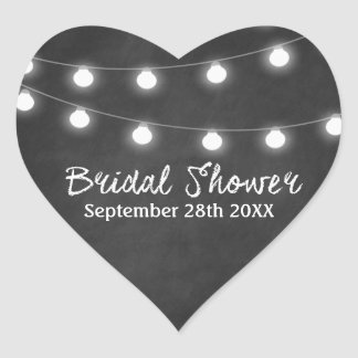 Chalkboard and Lights Country Bridal Shower Favors Heart Sticker