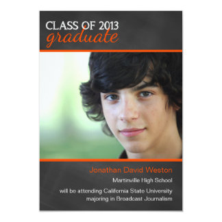 Chalkboard and Orange 2013 Graduation Announcement