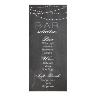 Chalkboard and string lights Wedding Bar Menu Card