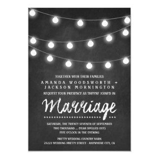 Chalkboard and String Lights Wedding Invitations