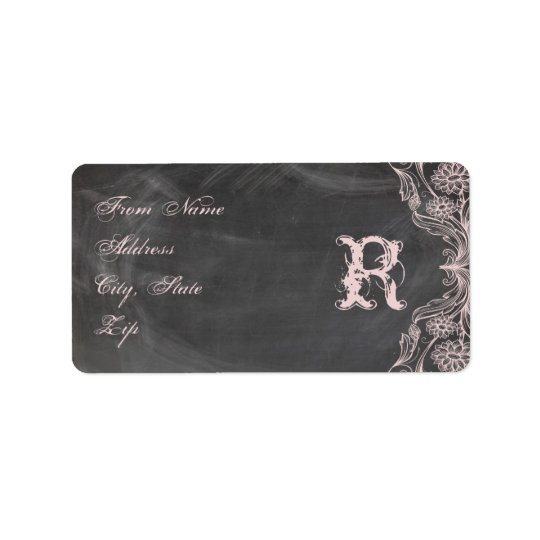 Chalkboard Antique Pink Floral Monogram Address Address Label