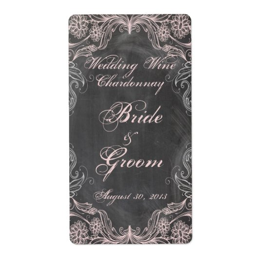 Chalkboard Antique Pink Floral  Wedding Wine Label