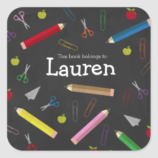 Chalkboard Apple Rainbow Pencil Crayons Book Name Square Sticker