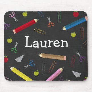 Chalkboard Apple Rainbow Pencil Crayons Paper Clip Mouse Pad