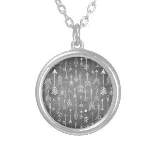 Chalkboard Arrow (black) Silver Plated Necklace