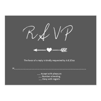 Chalkboard arrow wedding rsvp postcards