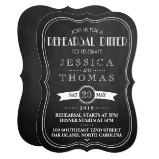 Chalkboard Art Deco Wedding Rehearsal Dinner Card
