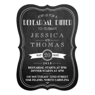 Chalkboard Art Deco Wedding Rehearsal Dinner Card
