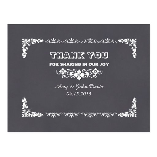 Chalkboard art deco wedding thank you notes deco3 post card