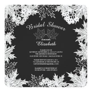 "Chalkboard Autumn Leaves Bridal Shower Invitation 5.25"" Square Invitation Card"