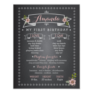 Chalkboard Baby First Birthday Milestone Board Poster
