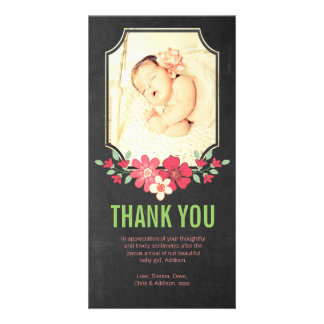 Chalkboard Baby Girl Thank You Flowers Photo Card