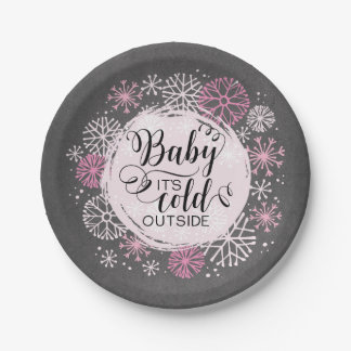 "Chalkboard Baby It's Cold Outside 7"" Paper Plate"