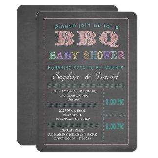 Chalkboard Baby Shower Barbecue Custom Invitation