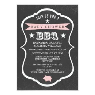 "Chalkboard Baby Shower Invitation / Girl 5"" X 7"" Invitation Card"