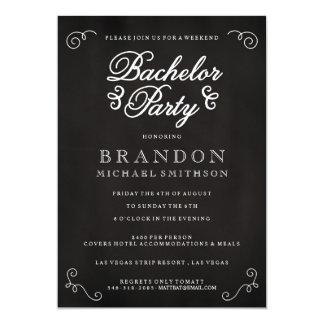 "Chalkboard Bachelor Party Invitation 5"" X 7"" Invitation Card"