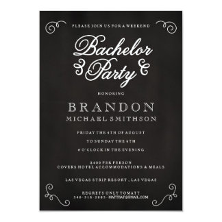 Chalkboard Bachelor Party Invitation