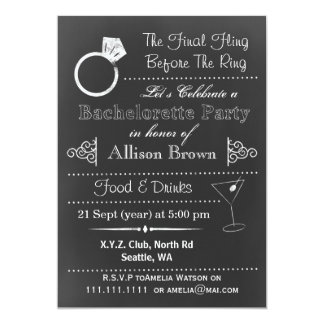 Chalkboard Bachelorette Party Invitations