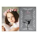 Chalkboard Ballerina Photo Birthday Invitation