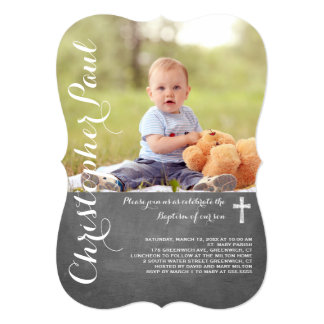 Chalkboard Baptism Photo Invitation