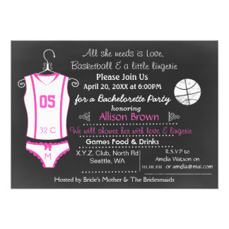 Chalkboard Basketball Lingerie Shower Bachelorette Custom Announcements