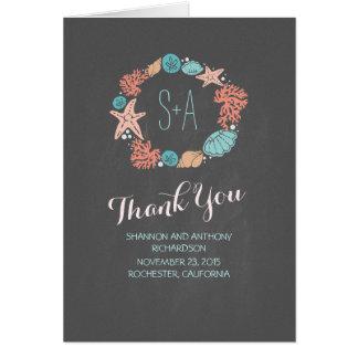 Chalkboard beach wreath initials wedding thank you card