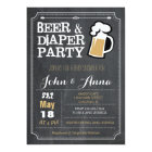 Chalkboard beer and diaper couples baby shower card