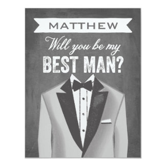 Chalkboard Best Man | Groomsman 11 Cm X 14 Cm Invitation Card