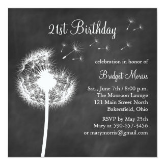 Chalkboard Best Wishes 21st Birthday Invitation