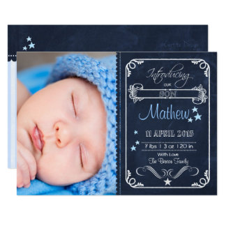 Chalkboard Birth Announcement Baby Boy