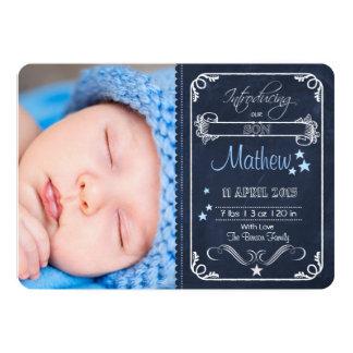 Chalkboard Birth Announcement Baby Boy