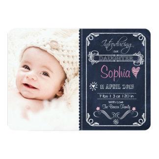 Chalkboard Birth Announcement Baby Girl